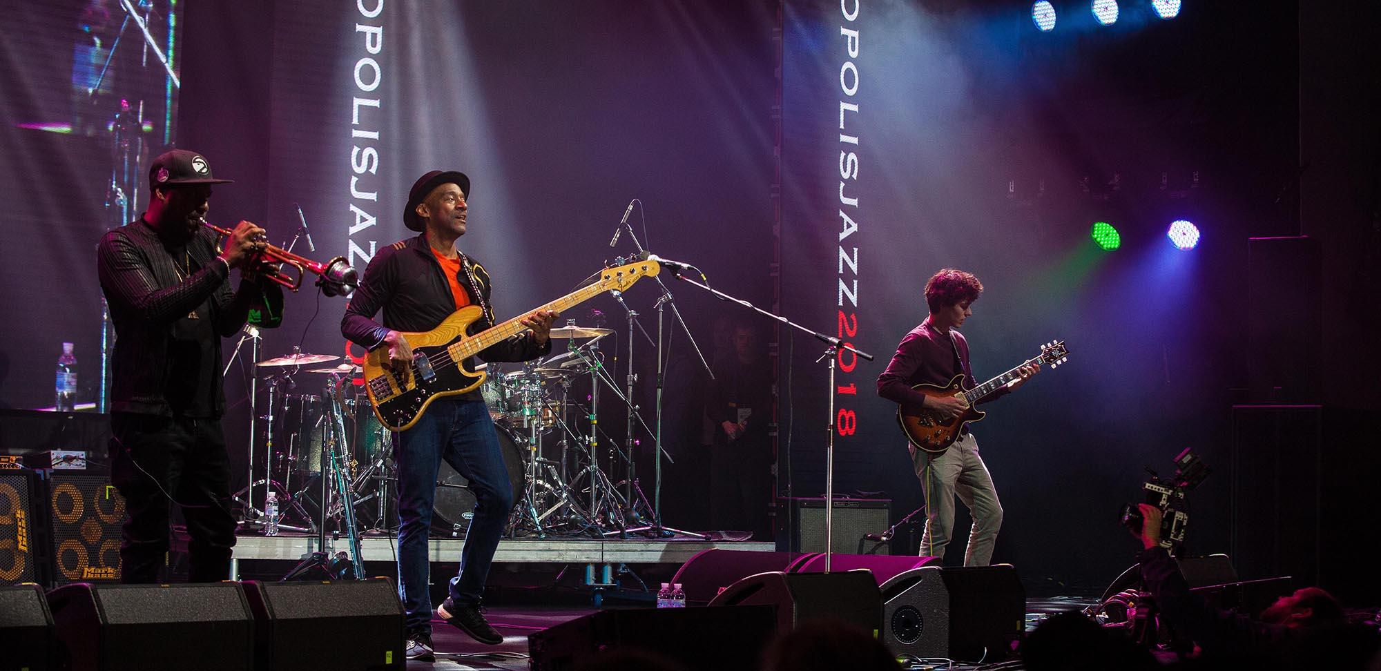 Marcus Miller & Russel Gunn & Tom Ibarra fot. Andrew Olifirenko